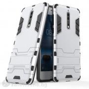 Хибриден калъф със стойка за Nokia 8 - бял
