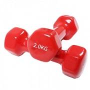 Gantere Dayu Fitness DY-PV-02-4, Vinil, 2 x 2 kg (Rosu)