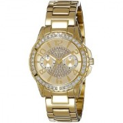 GUESS Gold Stainless Steel Round Dial Chronograph Watch For Women (W0705L2)