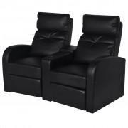 vidaXL Poltrona reclinável com 2 lugares couro artificial preto