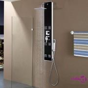 vidaXL Panel za tuširanje od stakla 8 x 42,1 x 120 cm crni