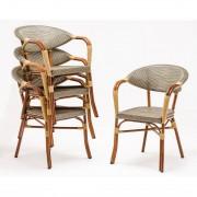Bolero kunststof rotan stoel met armleuning lichtbruin - 4