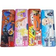 Pranshi Magnetic Pencil Box with Sharpner (Set of 4) - Spider Man, Frozen, Car and Princess