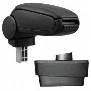 Středová loketní opěrka - vhodná pro: Škoda Fabia III (Typ NJ) - umělá kůže - Černá s černými švy