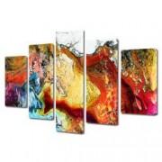 Tablou Canvas Premium Abstract Multicolor Imbinare De Culori Decoratiuni Moderne pentru Casa 120 x 225 cm