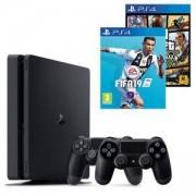 Конзола PlayStation 4 Slim 500GB Black, Sony PS4+Игра FIFA 19 за PS4+ Геймпад - Sony PlayStation DualShock 4+Игра GTAV (GTA5): Grand Theft Auto V