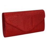 GLORIUSS Elegancka torebka kopertówka czerwona błyszcząca