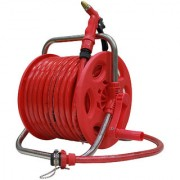 AquaHose Garden Water Pipe Hose Reel 30 mtr (100 feet) Folding Handle - Revolving Type with ISI Marked Hose Pipe (Hose Connector with Tap Adapter Butterfly Clamp & Bead Chain to Tighten)
