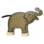 Fa játék állatok - elefánt, felálló ormányú, kicsi