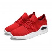 Moda hombres Flyknit Malla superior transpirable zapatos deportivos al aire libre girando Rojo