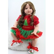 24inch Lifelike Christmas Reborn Baby Realistic Soft Silicone Toddler Girl Dolls Long Hair for Women Girls Gift