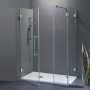 Porta doccia con fisso in linea Laura da 120 cm con fisso laterale da 70 cm in cristallo 8 mm Cerniere Satinato SX