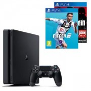 Конзола PlayStation 4 Slim 500GB Black, Sony PS4+Игра FIFA 19 за PlayStation 4+Игра Wolfenstein The New Order PS4