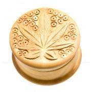 grinder / macinator tutun wooden Leaf