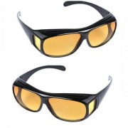 BUY 1 GET 1 FREE HD Wrap Arounds Night NV Night Driving HD Best Quality HD Glasses In Best Price Yellow Color Glasses (AS SEEN ON TV)