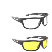 HD Night Day Vision NV HD Driving Glasses Yellow White Color Glasses 2Pcs. (SEEN AS TV)