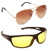 Magjons Fashion Combo Of Gold Brown Aviator And Night Driving Sunglasses