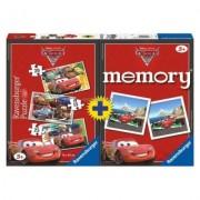 Puzzle + Joc Memory Disney Cars, 3 Buc In Cutie 15/20/25 Piese Ravensburger
