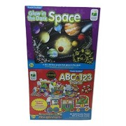 The Learning Journey Puzzle Doubles: Giant ABC & 123 Train Floor Puzzles & Glow In The Dark, Space Puzzle A 2(two) Pack Bundle