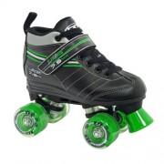 Roller Derby Laser 7.9 Speed Roller Skates, Black/Green, Shoe Size US-3 / UK-2