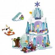 Frozen Elsa's Sparkling Ice Castle Doll House Building Block Lego Style Set Action Figures Play Set Toy for kids