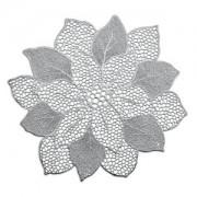 Zeller Present Handels GmbH Zeller Flower Platzset, 49 x 47 cm, Schützt die Tische vor unschönen Rändern und Verschmutzungen, 1 Stück, PVC, silber