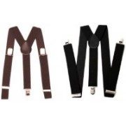 Homeshopeez Y- Back Suspenders for Men, Boys(Brown, Black)