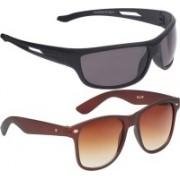 Vast Wayfarer, Wrap-around Sunglasses(Brown, Grey)