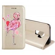 Samsung Voor Galaxy S9 + Flamingo Print horizontale Flip lederen draagtas met houder & portemonnee & kaartsleuven & fotolijstjes (goud)
