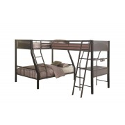 Ballarat II collection black and gun metal finish triple twin over full over twin with workstation bunk bed set