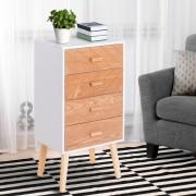 HOMCOM Mesa-de-cabeceira de Madeira com 4 Gavetas Cómoda Rústica Gavetas Mesa Móvel para Quarto Armário Arrumação 40x30x75cm