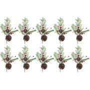 Bellatio Decorations 10x Kerststukje instekertjes 28 cm - Kerststukjes
