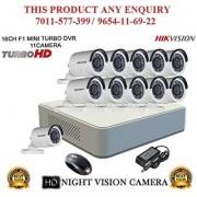 HIKVISION 2 MP 16CH DS-7116HQHI-F1 MINI Turbo HD 1080P DVR + HIKVISION DS-2CE16COT-IRPF TURBO BULLET CAMERA 11pcs CCTV COMBO