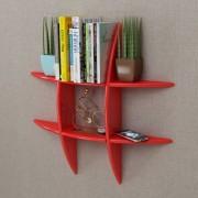 vidaXL Crvena MDF viseća polica za knjige/DVD