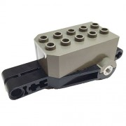 Lego Parts: Pullback Motor 9 x 4 x 2 1/3 with Black Base - Old Dark Gray Top, White Axle Holes, No Studs on Front Top Surface