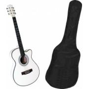 Chitara clasica din lemn 95 cm alb clasic husa nylon inclusa