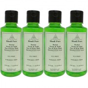 Khadi Pure Herbal Neem Tulsi Face and Body Wash Paraben Free - 210ml (Set of 4)