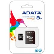 Micro SD Card ADATA 8Gb,AUSDH8GCL4-RA1 ,Clasa 4, cu adaptor SD