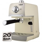 Espressor Samus Aroma 20, Presiune 20 bari, 1.2 L, Filtru inox, Boiler din aliaj de aluminiu, Crem/Inox