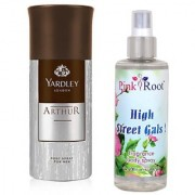 Yardley Arthur Body Spray for Men 150ml and Pink Root High Street Gals Fragrance body Spray 200ml Pack of 2