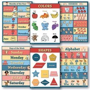 6 Educational poster pack Charts for classrooms early education for learning Alphabet Abc