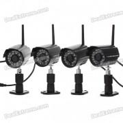 4 x Kit de seguridad de camara digital inalambrica a prueba de agua 2.4ghz con vision nocturna LED 24-IR