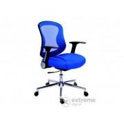 "Mayah ""Spirit"" uredska stolica, naslon za ruke, plavo platno, mrežni naslon, kromirane noge"