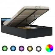 vidaXL Легло повдигащ механизъм с LED черно изкуствена кожа 140x200 cм