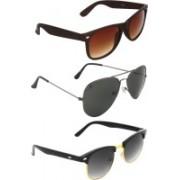 Zyaden Wayfarer, Aviator, Round Sunglasses(Brown, Black, Black)
