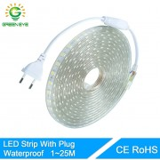 GreenEye High Bright 1m~25m Led Strip With EU Plug Waterproof IP67 SMD5050 220V Flexible 60leds/Meter Outdoor Indoor Strip Light