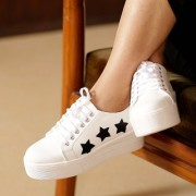 Trendy Look Women's Black & White Lace-up Sneakers