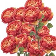 Geen 12x Oranje rozen kunstbloemen 66 cm