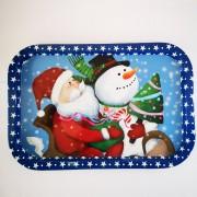 Karácsonyi süteményes fémtálcák 34 cm – Szarvasos télapós