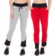 Cliths Women's Trackpants Solid|Grey Black Red Black Stylish Cotton Lowers for Women/Girls-Pack Of 2